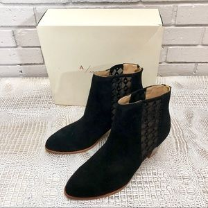 Anthropologie Sheer Inset Embroidered Booties